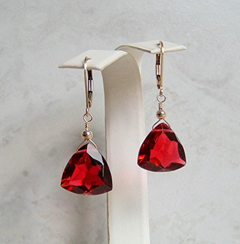 Red Teardrop Quartz Gold Filled Leverback Briolette Earrings Simulated Ruby July Birthstone Gift Idea