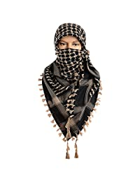 Micoop Large Size Premium Shemagh Scarf Arab Military Tactical Desert Scarf Wrap(48 by 48 inches) (Black Brown)