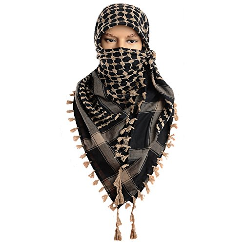 Micoop Large Size Premium Shemagh Scarf Arab Military Tactical Desert Scarf Wrap(48 by 48 inches) (Black Light Brown)