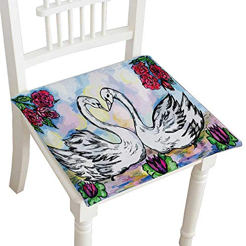 - HuaWuhome Chair Pads Squared Seat Sketch of Two Swans in The Pond Abstract Outdoor Dining Garden Patio Home Kitchen Office 22
