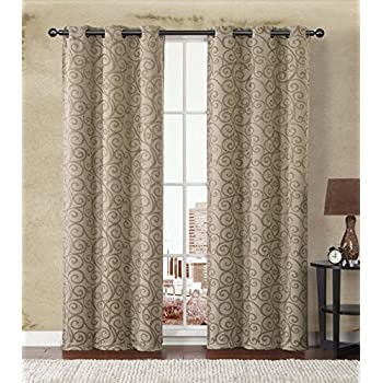 Beautiful 2 Pack: Stanton Hotel Quality Energy Saving Heavy Duty Thermal Woven  Grommet Curtain Panels By GoodGram®   Assorted Colors (Gold/Taupe)
