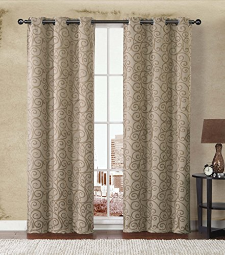 2-Pack: Stanton Hotel Quality Energy Saving Heavy-Duty Thermal Woven Grommet Curtain Panels By GoodGram® – Assorted Colors (Gold/Taupe)