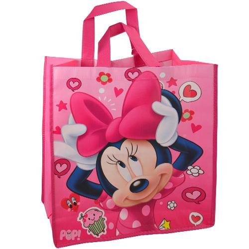 Disney Minnie Mouse Large Reusable Non-Woven Tote Bag, Pink]()