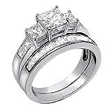 Sterling Silver Three Stone CZ Princess Cut Women's Wedding Engagement Bridal Ring Set Size 8