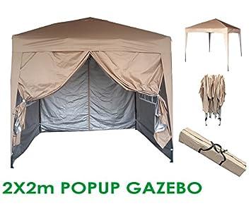 Mcc® Gazebo plegable impermeable del gazebo 2x2m, tienda del pabellón con la capa protectora de plata incluye paredes laterales [WS] (color Beige): ...