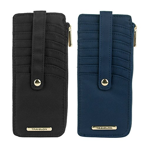 Travelon Set of 2 RFID Anti-Theft Tailored Slim Zip Wallets (Sapphire & Onyx)
