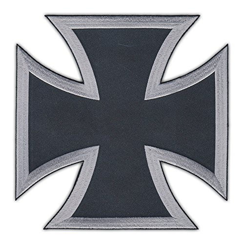 Motorcycle Biker Jacket Embroidered Patch (Large Back Patch) - Black and Silver Maltese Cross - Knights Hospitaller, Knights of Malta, (Maltese Cross Patches)