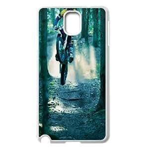Samsung Galaxy Note 3 Case,Motocross Jump Forest Hard Shell Back Case for White Samsung Galaxy Note 3 Okaycosama348467