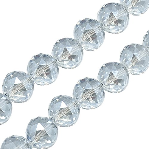 NBEADS 1 Strand Rainbow Plated Faceted Round Clear Electroplate Glass Bead Strands with 14x14mm,Hole:2mm,About 50pcs/Strand ()