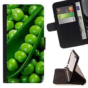 - Peas Diet Healthy Green Food - Estilo PU billetera de cuero del soporte del tir???¡¯????n [solapa de cierre] Cubierta- For Samsung Galaxy S6 £¨ Devil Case £©