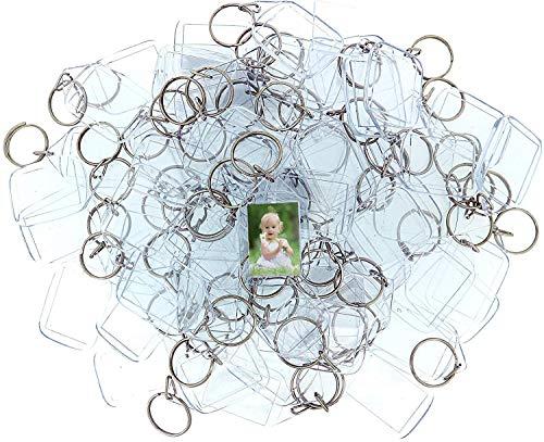 Llaveros de Fotos de Acrilico (50 Piezas) - 3,4 x 5,4cm Llavero en Blanco - Transparente Insertar Fotos Llaveros - plastico Fotos Personalizadas Llavero - Apto para Hombres y Mujeres