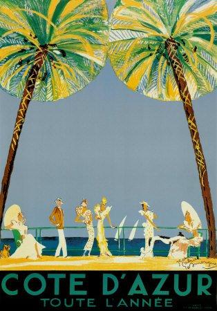 Cote d'Azur Art Poster Print by Jean-Gabriel Domergue, 28x40