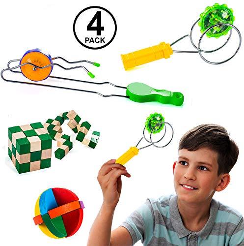 Tigerdoe Gyro Wheels - 4 Pc Set - Rail Twirler - Kendama Toy - Brain Teasers - Magnetic Gyro Wheel - Toys for Kids -