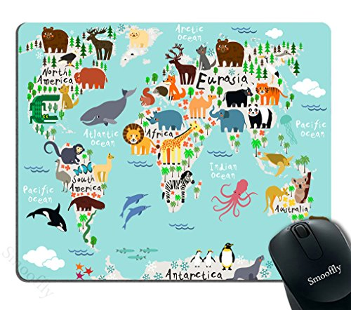 Smooffly Map Mouse Pad Kids office, Animal Map of the World for Children and Kids Cartoon Mountains Forests Image, Rectangle Non-Slip Rubber Mousepad, Blue Green