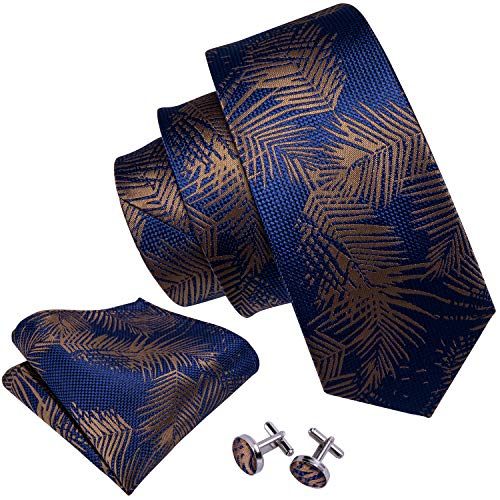 Barry.Wang Tie Pocket Square Cufflinks Necktie Set Flower Woven Ties for Men Wedding Party Blue Brown