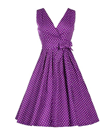 Women Waist Coolred Accept Empire Dress 50s Vingtage Purple Hepburn Waist Party qTwxRfSwd6