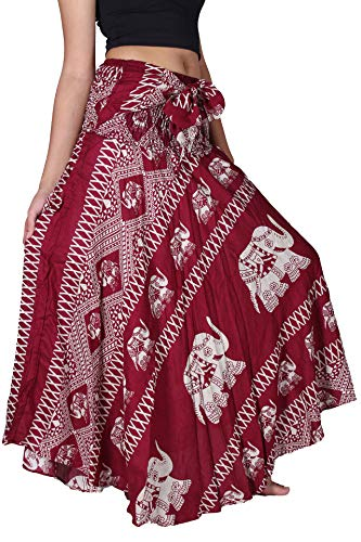 Bangkokpants Women's Long Bohemian Hippie Skirt Boho Dresses Gypsy Clothes Elephant One Size (Red, Plus Size)]()
