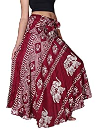 Women's Long Bohemian Hippie Skirt Boho Dresses Elephant One Size Asymmetric Hem Design