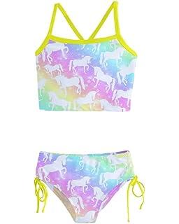 9e2dad2d72c83 PattyCandy Little/Toddler Girls Girly Swimwear Unicorn Princess Rainbows  Kids Tankini Swimsuit Bikini Set