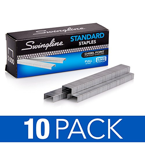 Swingline Staples, Standard, 1/4 Length, 210/Strip, 5000/Box, 10 Pack (35111)