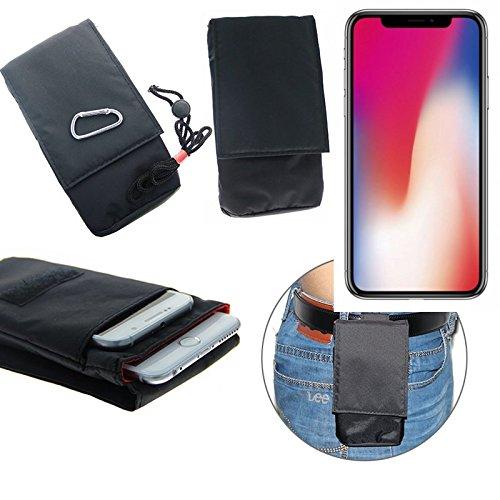 K-S-Trade(TM) Gürteltasche / Holster, Brusttasche Brustbeutel für Apple iPhone X, schwarz. Travel Bag, Travel-Case vertikal. Schutz vor Diebstahl / Raub! (Wir zahlen Steuern in Deutschland!)