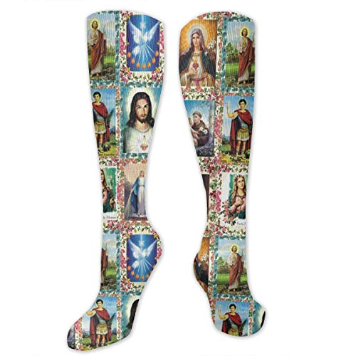 MSONNET Men Women Boys Girls Catholic Saints Images 3D Compression Socks(20-30 mmHg)- Medical Graduated Compression Stockings for Sports Running Nurses Diabetic Flight ()
