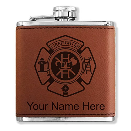 Personalized Faux Leather Flask - Firefighter