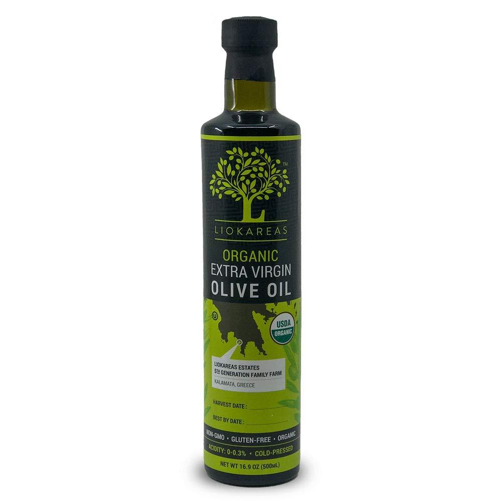 Liokareas Organic Greek Extra Virgin Olive Oil - USDA Certified Organic - Kosher - NonGMO - Single Sourced - First Pressed - Cold Pressed - International Award Winning - Premium (500ML)
