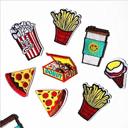 8 Pcs Iron On Embroidered Applique DIY Decoration Patch Set - Cola Ice Cream Popcorn Chips Donut Sandwich Pizza Food Patch