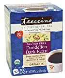 Teeccino Gluten Free Organic Chicory Herbal Tea Dandelion Dark Roast Tea Bags, Caffeine Free, Acid Free 10 count