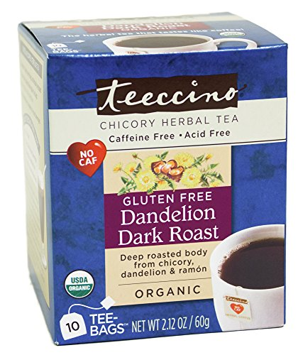 Teeccino Gluten Free Native Chicory Herbal Tea Dandelion Dark Roast Tea Bags, Caffeine Free, Acid Free 10 count