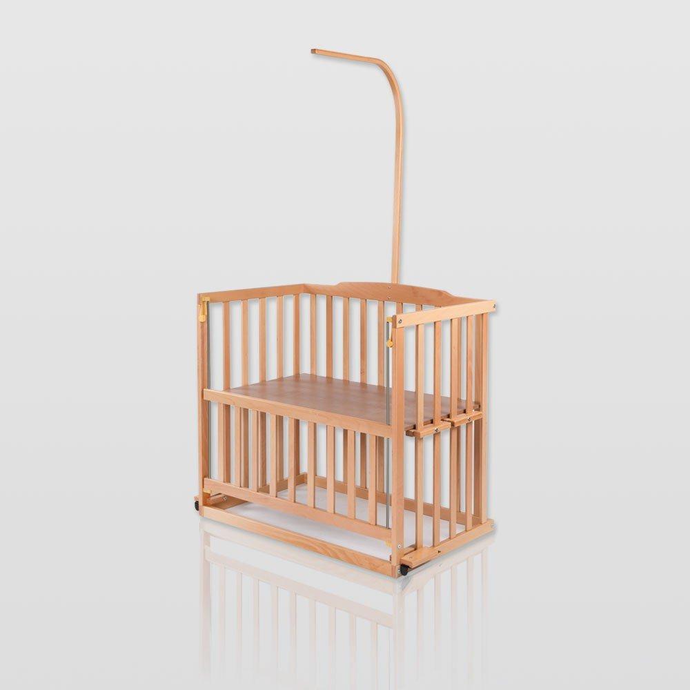 Baby Beistellbett, Babybett, höhenverstellbar, Weiß oder Kiefer mit Himmelstange, Farbe:Kiefer