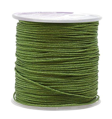 - Mandala Crafts Nylon Satin Cord, Rattail Trim Thread for Chinese Knotting, Kumihimo, Beading, Macramé, Jewelry Making, Sewing (1mm, 109 Yards, Green)