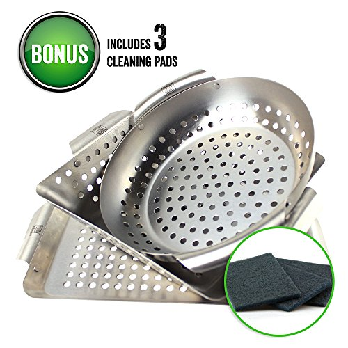Yukon Glory 3-Piece Mini BBQ Grill Baskets Accessory Set with Cleaning Pads,for Grilling Vegetables, Chicken Pieces etc ()