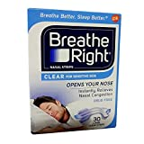 Breath Right Drug Free Clear Large Nasal Strips , 30 CT (Pack of 6)