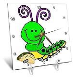 3dRose All Smiles Art - Animals - Cute Funny Green Caterpillar Eating Taco Cartoon - 6x6 Desk Clock (dc_291198_1)