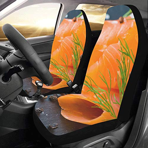 (Fresh and Juicy Salmon Custom New Universal Fit Auto Drive Car Seat Covers Protector for Women Automobile Jeep Truck SUV Vehicle Full Set Accessories for Adult Baby (Set of 2 Front))