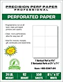 550 Sheets, 8-1/2 x 11 Blank Perforated Paper, 24# Paper, 6 UP Per Page Perforated Paper
