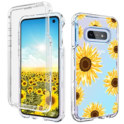 Galaxy S10e Case Samsung S10e Case GUAGUA Clear Transparent Sunflower Floral Cover Printed 3 in 1 Hybrid Hard Plastic Soft Rubber Shockproof Protective Phone Cases for Samsung Galaxy S10e 5.8'' (2019)