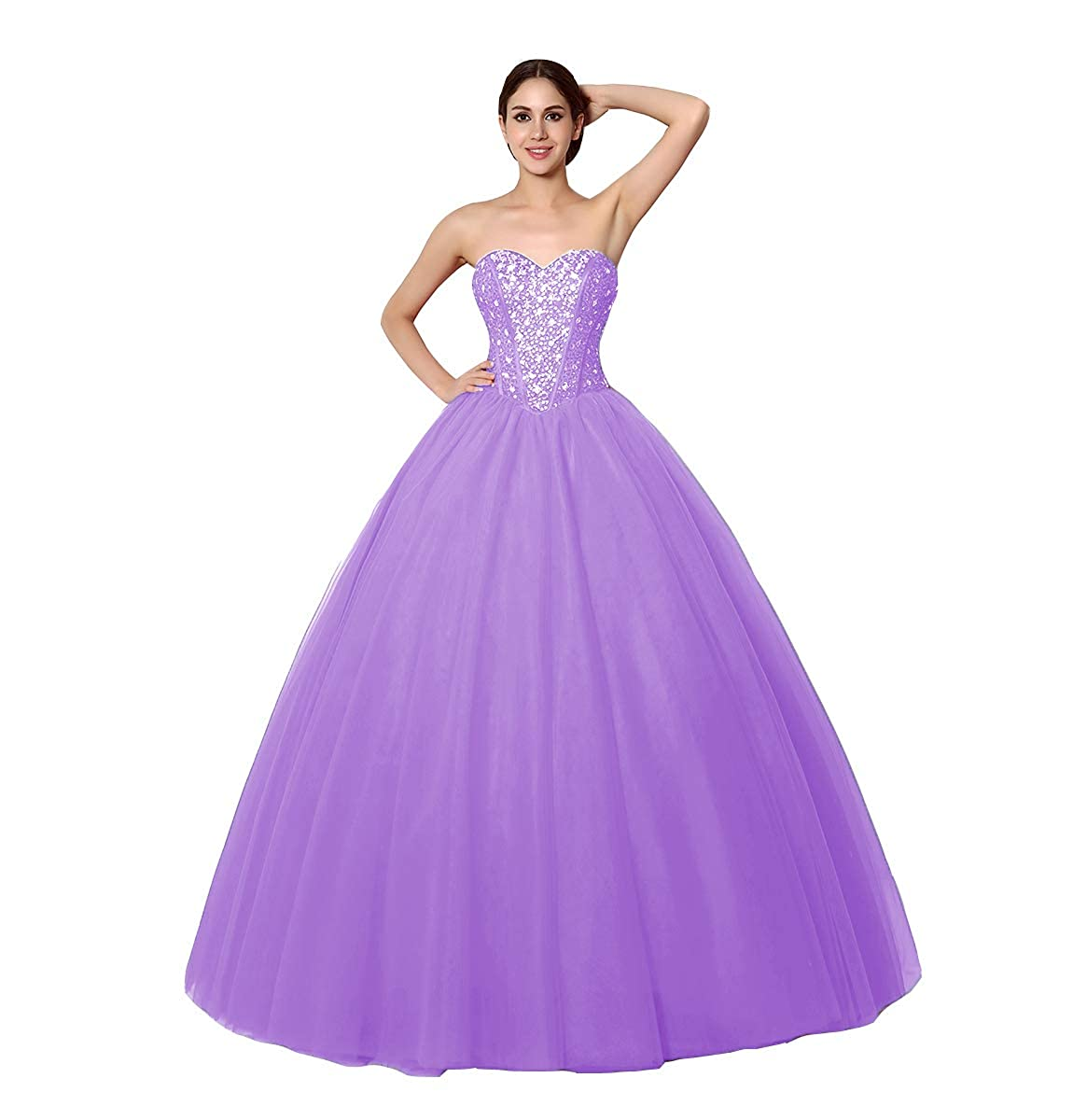 Lavender FTBY Sweetheart Beaded Quinceanera Dress Sweet 16 Tulle Ball Gowns Long Prom Dress Crystals 2019