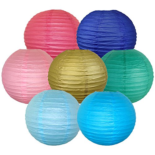 Just-Artifacts-7pcs-Assorted-Paper-Lantern-Pack-10inch-ChineseJapanese-Hanging-Paper-Lantern-Decorations