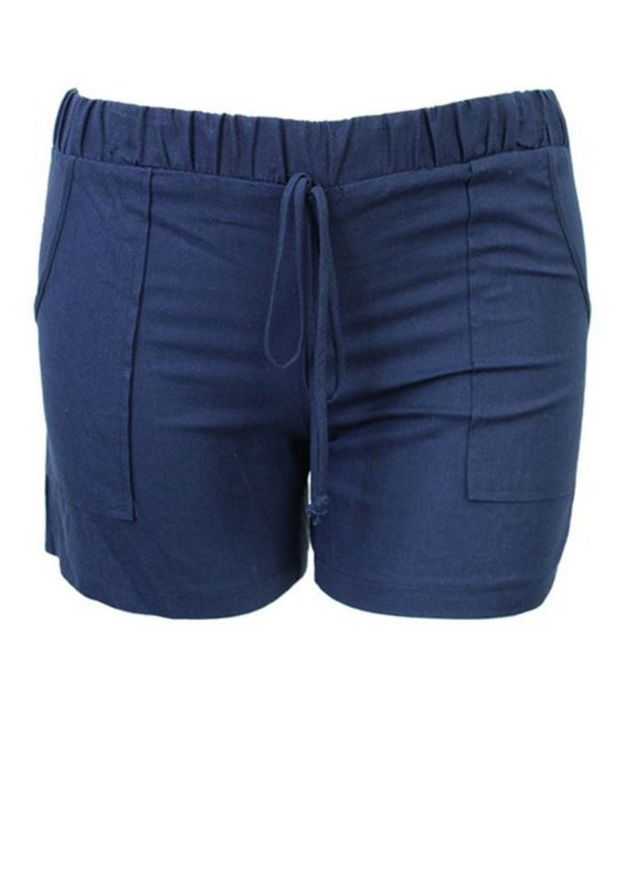 curvyluv.com Women's Plus Size Linen Shorts w/Front Pockets Elastic Tie Waist Bottoms (1X, Navy)