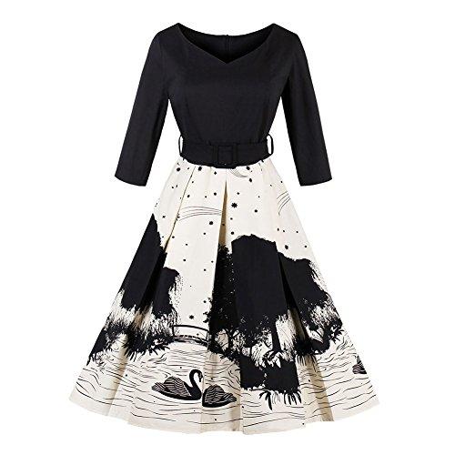 Women Lady 3/4 Sleeve V Neck Elegant Printing Swan Pattern Casual A-Line Expansion Skirt Dress Black Swan 4XL (Elegant Swan)