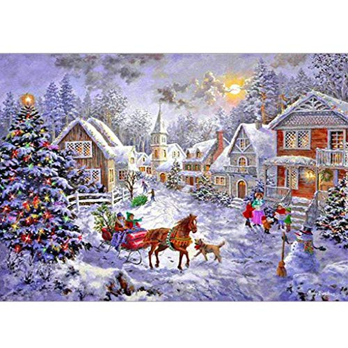 (EA-STONE Christmas Snow Scene 5D DIY Diamond Painting Kit,Full Drill Embroidery Painting Cross Stitch Kit For Christmas Room Home Decor Craft)