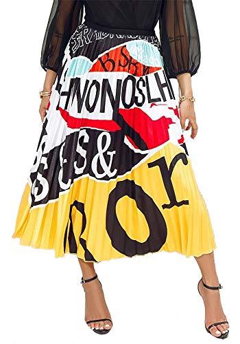 - Womens Color Block Graffiti Letter Print Cartton Pleated A Line Swing Maxi Midi Skirt Dress Yellow M