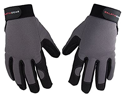 Galatia Gear Work Gloves- Durable Synthetic Leather Palm and Finger Tips, Flexible Double Layer Spandex Backing with Adjustable Elastic Wrist Strap- Black/Gray