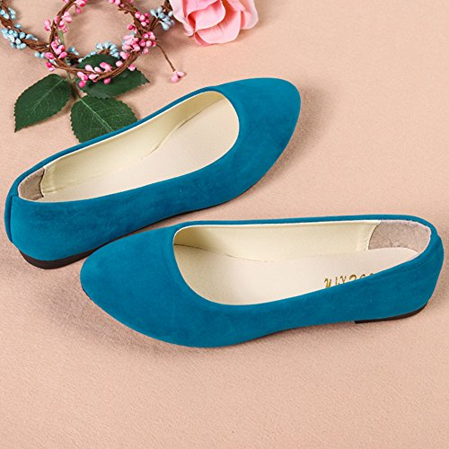 Ecotrumpuk Women Lady Boat Shoes Casual Flat Loafers Single Shoes White Sky Blue air00S