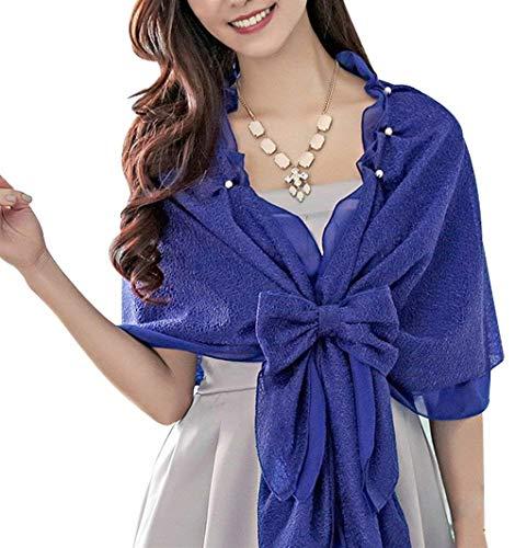 Mujer Bufanda Señoras Elegantes Moda Informales Bonita Hipster Hipster Poncho Color Sólido con Lazo Lindo Chic Volantes con Rosario Estolas Chal De Blau