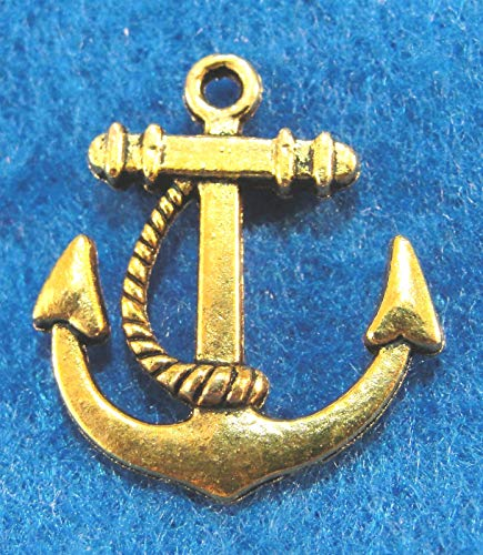 10Pcs. Tibetan Antique Gold 3D Ships Anchor Charms Pendants Findings Charms DIY Crafting by WCS