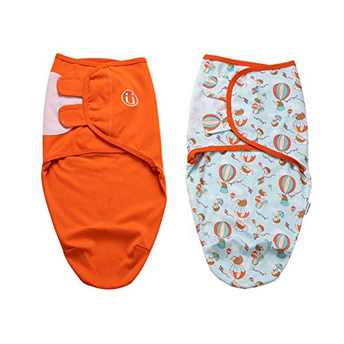 2 Pcs Newborn Baby Swaddle Sleep Bag, Unisex Infant Thin Wrap Blanket Nursing Envelope for Boys and Girls - Skin Friendly Cotton Blend(6551,Traveler Suit)